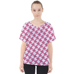 Houndstooth2 White Marble & Pink Denim V Neck Dolman Drape Top