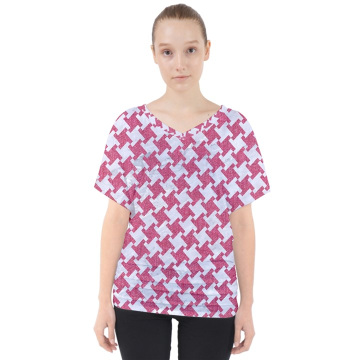 HOUNDSTOOTH2 WHITE MARBLE & PINK DENIM V-Neck Dolman Drape Top