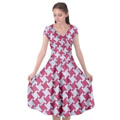 Houndstooth2 White Marble & Pink Denim Cap Sleeve Wrap Front Dress