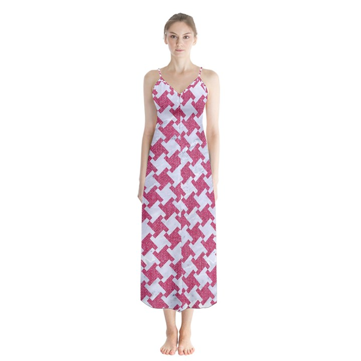 HOUNDSTOOTH2 WHITE MARBLE & PINK DENIM Button Up Chiffon Maxi Dress