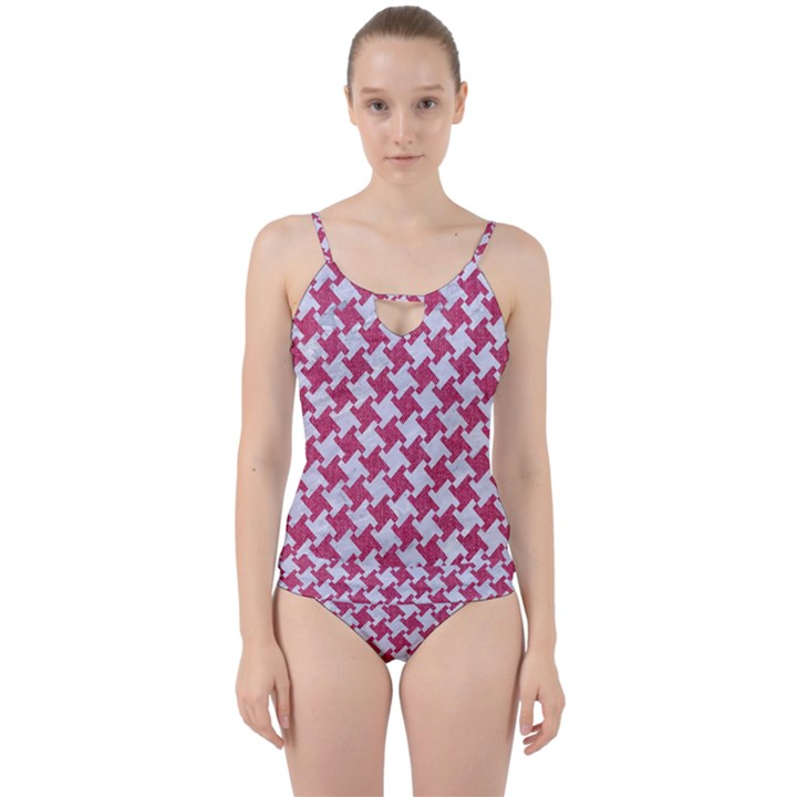 HOUNDSTOOTH2 WHITE MARBLE & PINK DENIM Cut Out Top Tankini Set