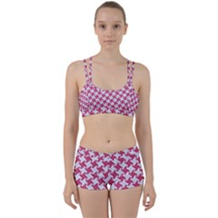 Houndstooth2 White Marble & Pink Denim Women s Sports Set