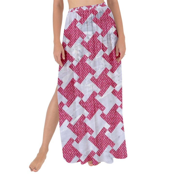HOUNDSTOOTH2 WHITE MARBLE & PINK DENIM Maxi Chiffon Tie-Up Sarong