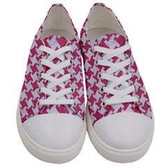 Houndstooth2 White Marble & Pink Denim Women s Low Top Canvas Sneakers