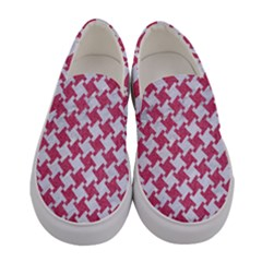 Houndstooth2 White Marble & Pink Denim Women s Canvas Slip Ons