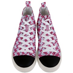 Houndstooth2 White Marble & Pink Denim Men s Mid Top Canvas Sneakers