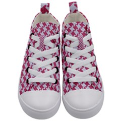 Houndstooth2 White Marble & Pink Denim Kid s Mid Top Canvas Sneakers