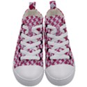 HOUNDSTOOTH2 WHITE MARBLE & PINK DENIM Kid s Mid-Top Canvas Sneakers View1