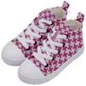 HOUNDSTOOTH2 WHITE MARBLE & PINK DENIM Kid s Mid-Top Canvas Sneakers View2