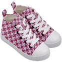 HOUNDSTOOTH2 WHITE MARBLE & PINK DENIM Kid s Mid-Top Canvas Sneakers View3