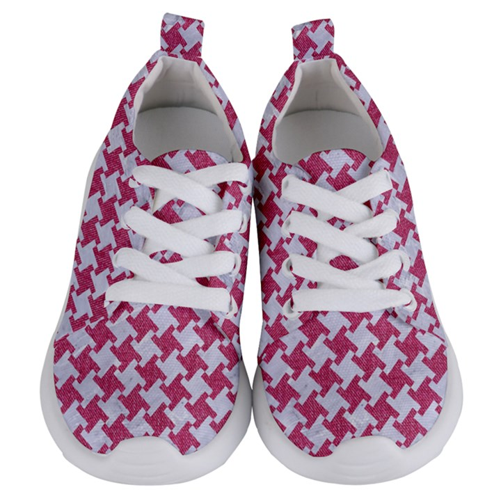 HOUNDSTOOTH2 WHITE MARBLE & PINK DENIM Kids  Lightweight Sports Shoes