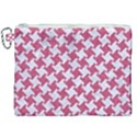 HOUNDSTOOTH2 WHITE MARBLE & PINK DENIM Canvas Cosmetic Bag (XXL) View1