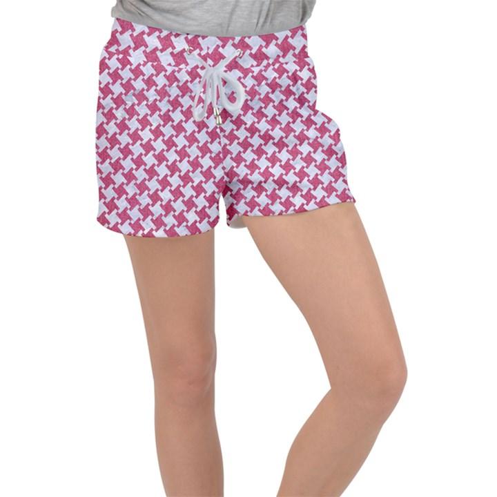 HOUNDSTOOTH2 WHITE MARBLE & PINK DENIM Women s Velour Lounge Shorts