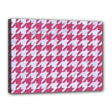 Houndstooth1 White Marble & Pink Denim Canvas 16  X 12