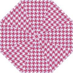HOUNDSTOOTH1 WHITE MARBLE & PINK DENIM Folding Umbrellas