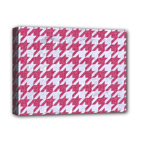 Houndstooth1 White Marble & Pink Denim Deluxe Canvas 16  X 12