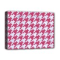 HOUNDSTOOTH1 WHITE MARBLE & PINK DENIM Deluxe Canvas 16  x 12   View1