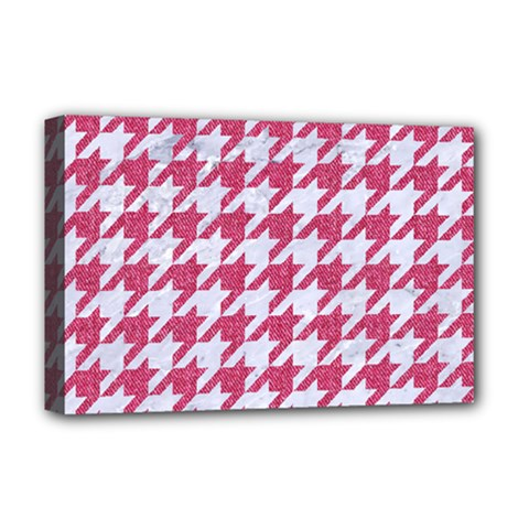 Houndstooth1 White Marble & Pink Denim Deluxe Canvas 18  X 12