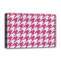 HOUNDSTOOTH1 WHITE MARBLE & PINK DENIM Deluxe Canvas 18  x 12   View1