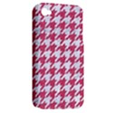 HOUNDSTOOTH1 WHITE MARBLE & PINK DENIM Apple iPhone 4/4S Hardshell Case (PC+Silicone) View2