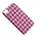 HOUNDSTOOTH1 WHITE MARBLE & PINK DENIM Apple iPhone 4/4S Hardshell Case with Stand View5