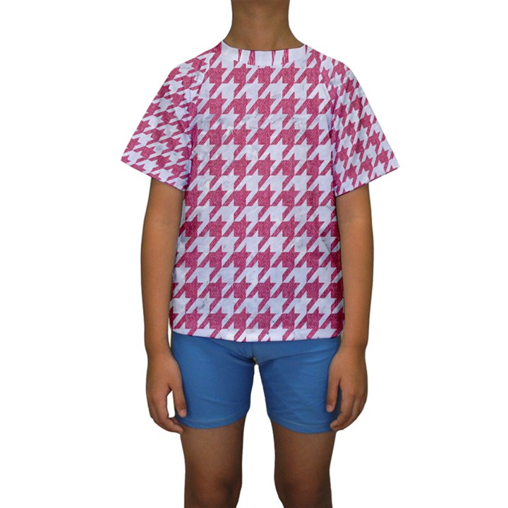 HOUNDSTOOTH1 WHITE MARBLE & PINK DENIM Kids  Short Sleeve Swimwear