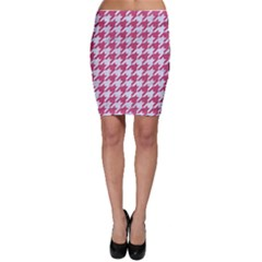 Houndstooth1 White Marble & Pink Denim Bodycon Skirt