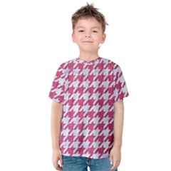 Houndstooth1 White Marble & Pink Denim Kids  Cotton Tee