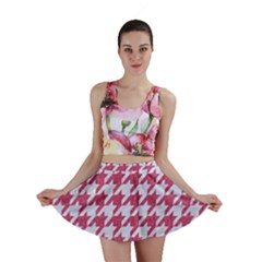 HOUNDSTOOTH1 WHITE MARBLE & PINK DENIM Mini Skirt