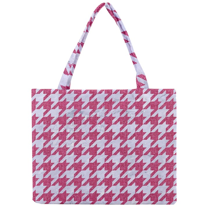 HOUNDSTOOTH1 WHITE MARBLE & PINK DENIM Mini Tote Bag