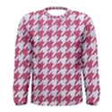 HOUNDSTOOTH1 WHITE MARBLE & PINK DENIM Men s Long Sleeve Tee View1