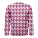 HOUNDSTOOTH1 WHITE MARBLE & PINK DENIM Men s Long Sleeve Tee View2