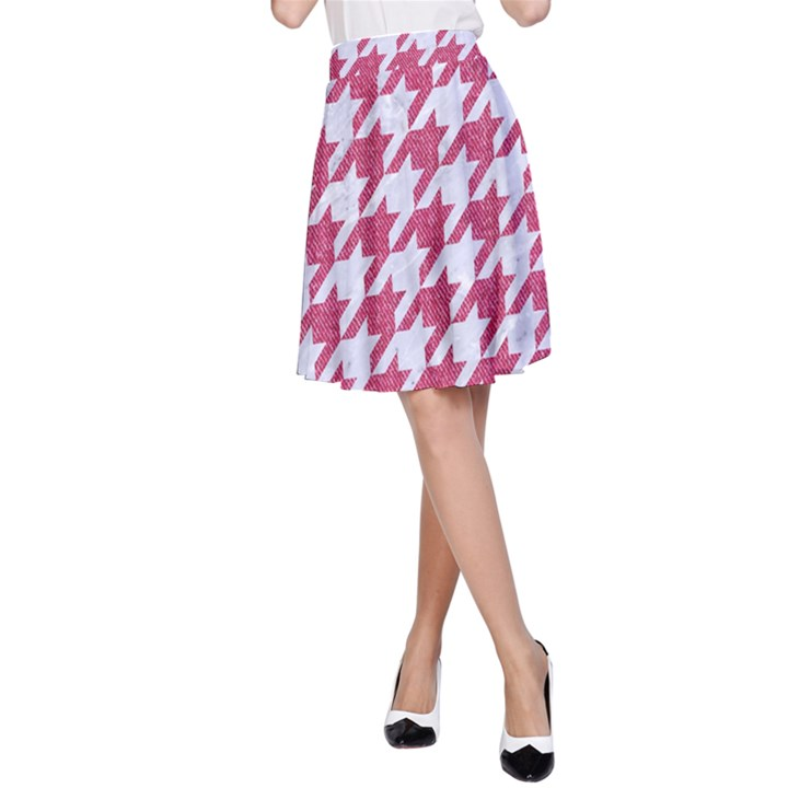 HOUNDSTOOTH1 WHITE MARBLE & PINK DENIM A-Line Skirt