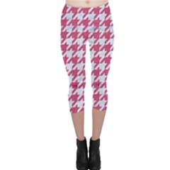 Houndstooth1 White Marble & Pink Denim Capri Leggings