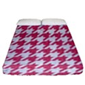 HOUNDSTOOTH1 WHITE MARBLE & PINK DENIM Fitted Sheet (Queen Size) View1