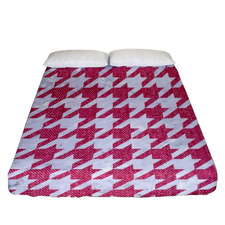 HOUNDSTOOTH1 WHITE MARBLE & PINK DENIM Fitted Sheet (Queen Size)