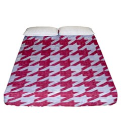 Houndstooth1 White Marble & Pink Denim Fitted Sheet (king Size)