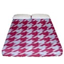 HOUNDSTOOTH1 WHITE MARBLE & PINK DENIM Fitted Sheet (King Size) View1