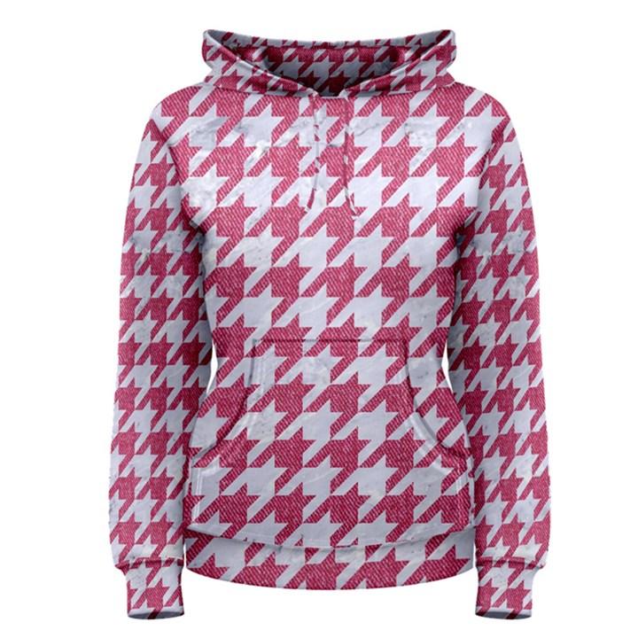 HOUNDSTOOTH1 WHITE MARBLE & PINK DENIM Women s Pullover Hoodie