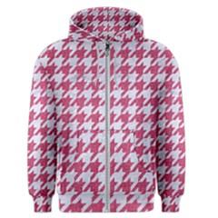 Houndstooth1 White Marble & Pink Denim Men s Zipper Hoodie by trendistuff