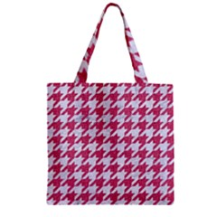 Houndstooth1 White Marble & Pink Denim Zipper Grocery Tote Bag