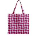 HOUNDSTOOTH1 WHITE MARBLE & PINK DENIM Zipper Grocery Tote Bag View1