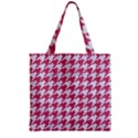 HOUNDSTOOTH1 WHITE MARBLE & PINK DENIM Zipper Grocery Tote Bag View2