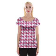 Houndstooth1 White Marble & Pink Denim Cap Sleeve Tops