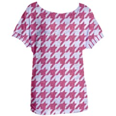 Houndstooth1 White Marble & Pink Denim Women s Oversized Tee