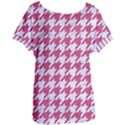 HOUNDSTOOTH1 WHITE MARBLE & PINK DENIM Women s Oversized Tee View1