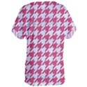 HOUNDSTOOTH1 WHITE MARBLE & PINK DENIM Women s Oversized Tee View2