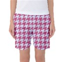 HOUNDSTOOTH1 WHITE MARBLE & PINK DENIM Women s Basketball Shorts View1
