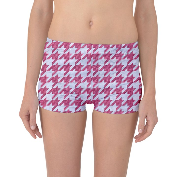 HOUNDSTOOTH1 WHITE MARBLE & PINK DENIM Boyleg Bikini Bottoms