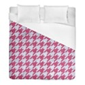 HOUNDSTOOTH1 WHITE MARBLE & PINK DENIM Duvet Cover (Full/ Double Size) View1
